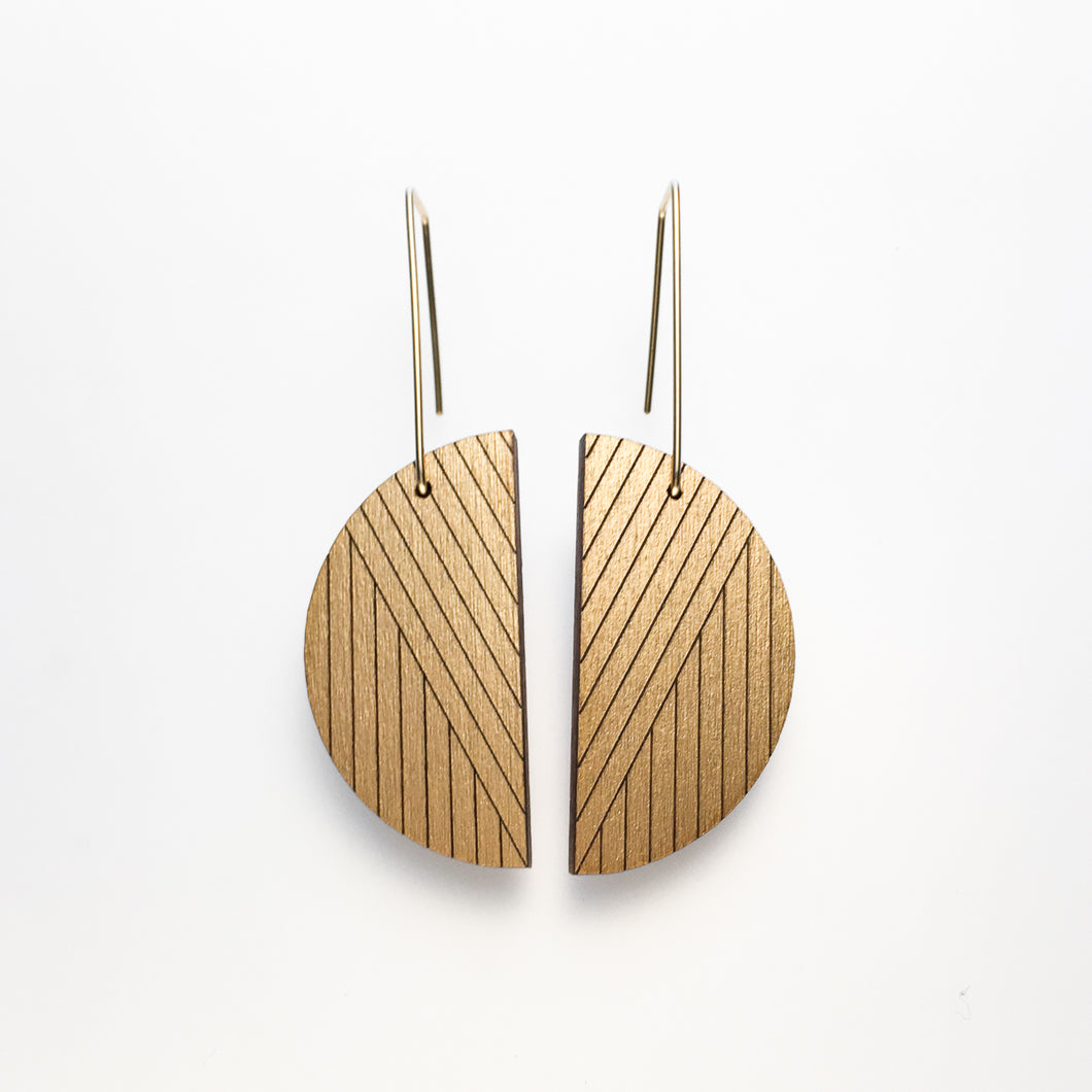 Clear frosted half circle gold-metallic painted cherry wood earring with long, gold wire posts