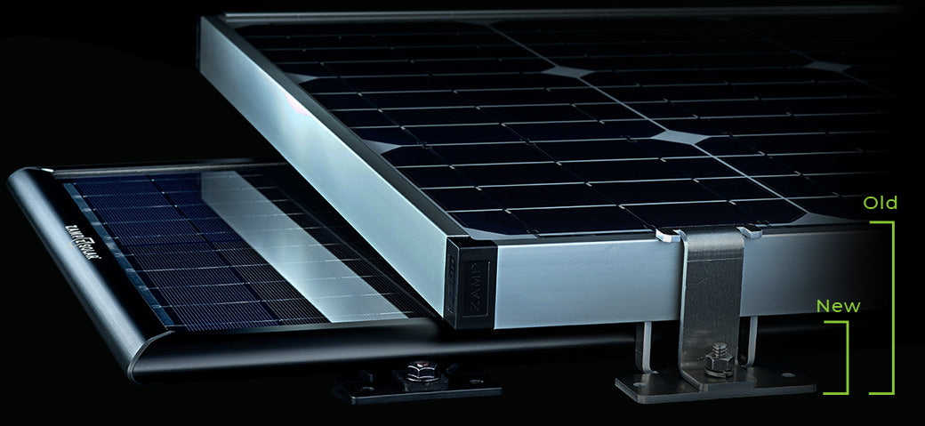 Zamp Solar Obsidian Series Solar panel under traditional solar panel showing how thin and sleek the new panels are.