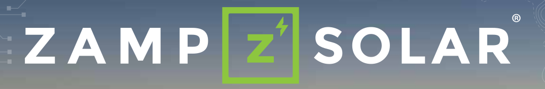 Zamp Solar logo showing mountain sceen