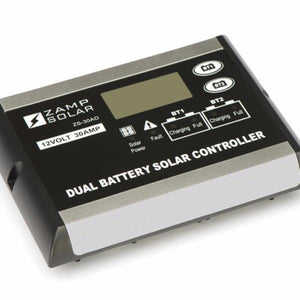 Zamp 30 Amp Digital Dual Battery Bank Solar Controller angle