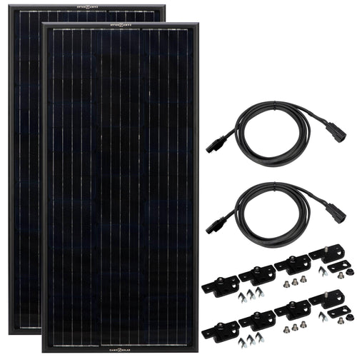 Obsidian Series 2x100 Watt Solar Panel Complete Kit