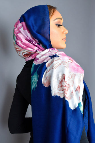 Foil Floral Royal Blue Scarf