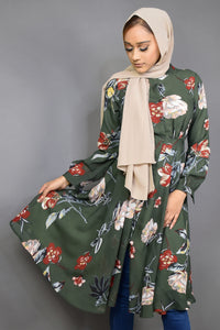 Pickle Green Floral Printed Tunic