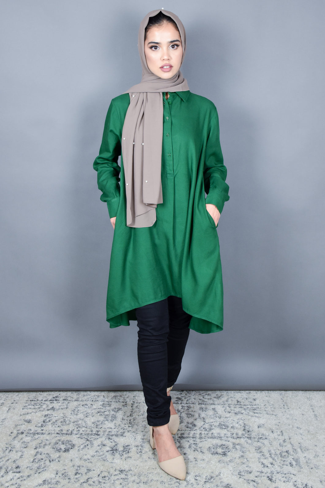 Forest Green Hi Lo Flare Tunic