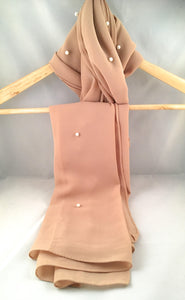 Gallerina Hijab in Beige Chiffon Georgette with Pearls