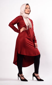 Bundle: Khaki Green Tie Up Tunic + Maroon Hi-Lo Tunic
