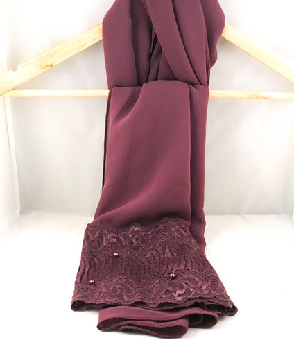 Gallerina Hijab Scarf in Purple Georgette Chiffon with a Lace Borde