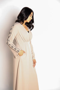 Gallerina Modest Full Length Maxi Dress and Full Sleeves in Beige with Embroidery on the Arms and Pockets on the Sides