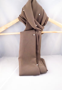 Gallerina Light Brown Chiffon Georgette Hijab with Pearls