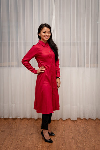 Candy Red Flare Tunic with Buttons