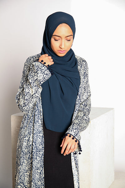 Gallerina Plain Chiffon Hijab in Blue