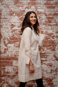 Macaroon Cream Tunic with Black Buttons
