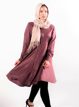 Gallerina Modest Mauve Tunic in Flare with Buttons in Rayon