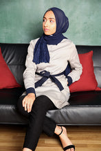 Gallerina Modest Pencil Tunic in Cotton with Pockets in Grey and Navy Blue