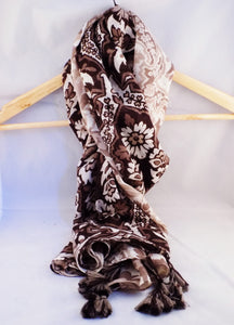 Gallerina Hijab in Brown Print Cotton Viscose with Tassels
