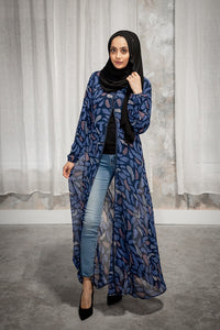 Navy Blue Printed Feathers Cardigan