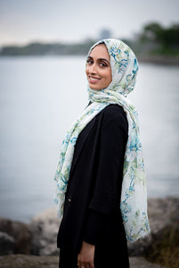 Foil Printed Light Blue Rose Scarf