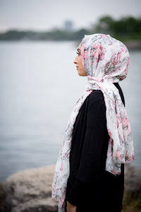 Foil Printed Light Rose Scarf