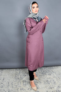 Dark Mauve Wrap Around Midi Tunic