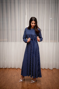 Navy Blue Polka Dot Maxi Dress
