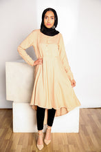 Light Beige Hi-Lo Midi Dress