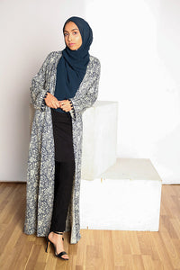 Bundle: Printed Navy Cardigan + Midnight Black Pleated Tunic