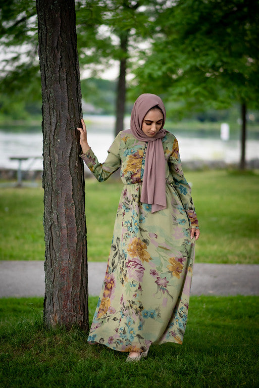 Fern Green Floral Maxi Dress