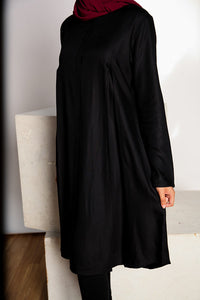 Midnight Black Pleated Tunic