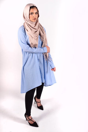 Light Blue Hi Lo Flare Tunic