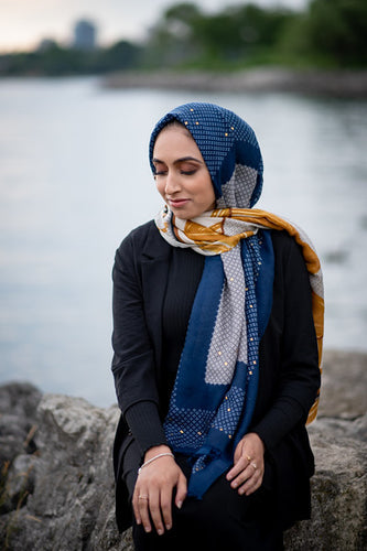 Two Tone Blue/Yellow Gold Foil Print Scarf