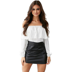 Fashion Autumn Women Blouse Sexy Off Shoulder Tops Long Sleeve Shirt Casual Stripe Blusas Loose White shirt roupas feminina