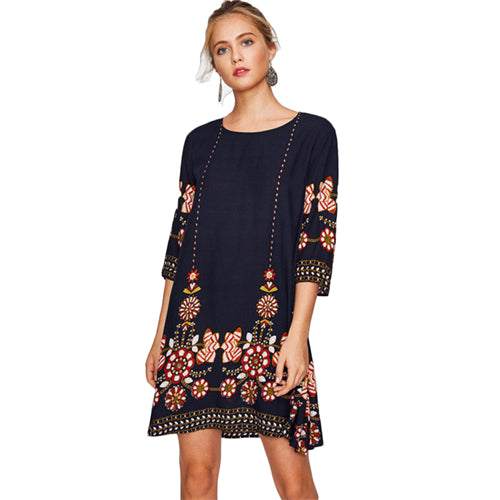SHEIN Flower Print Flowy Dress Autumn Boho Dress Ladies Navy Three Quarter Length Sleeve A Line Casual Fall Dress