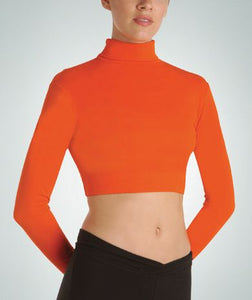 Long Sleeve Turtleneck Midriff  Crop Top