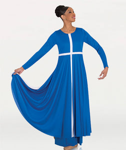 Long Sleeve Cross Dress With Contrast Front Cross