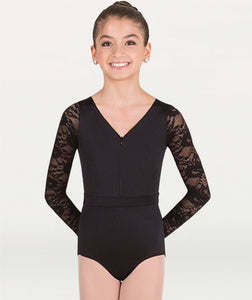 Long Sleeve Lace Back Leotard P1081
