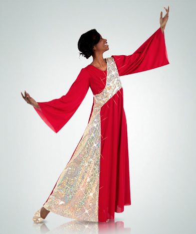 Womens Stained Glass Asymmetrical Bell Sleeve Dress