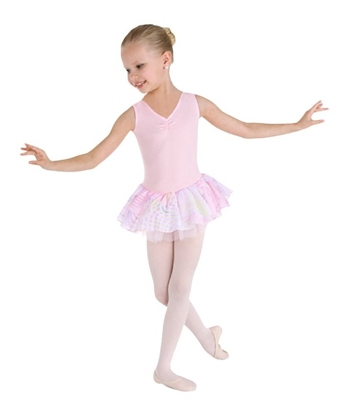 Girls Perfect Harmony Pinched Front Skirted Tank Leotard