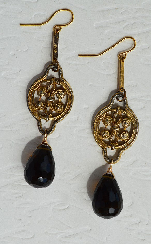 biographie products oxidized earrings smoky quartz lemon