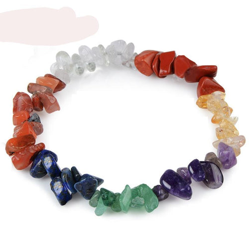 7 Chakra Healing Crystals Natural Stone Chips Women Bracelets -Free Shipping, Yoga, Reiki, Meditation Healing Gifts Jewelry - FruitPaunch Gifts