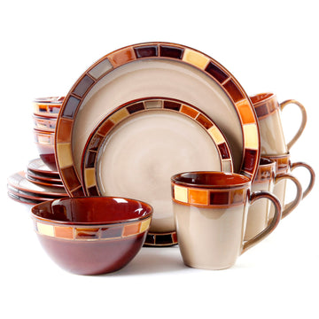 16 piece stoneware dinnerware set orange yellow gibson estebana