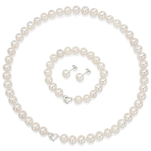 Heart Shape White Freshwater Pearl Necklace Bracelet Earring Sterling Silver 8-9mm Jewelry Set DaVonna - FruitPaunch Gifts