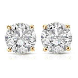 White Diamond Stud Earrings Round Cut 14k White or Yellow Gold 1/2ct TDW Jewelry - FruitPaunch Gifts