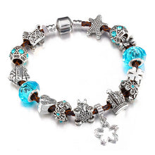 Charm Bracelets Geometric Shapes Women Blue Beads Silver Crystal Bangles Purple/Blue/Pink Jewelry - FruitPaunch Gifts
