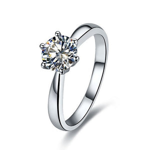 1Ct Moissanite Engagement Ring 14K White Gold Round Cut Women - Finest Jewelry