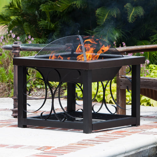 Fire Pit Outdoor Grill Grate Coffee Table Wood Log Cocktail Backyard Portable