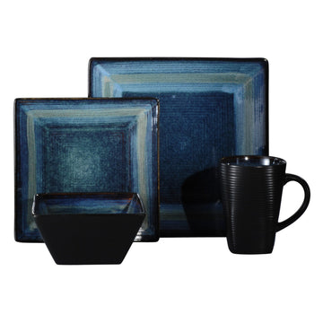 dark blue red square dinnerware set 16 pieces stoneware