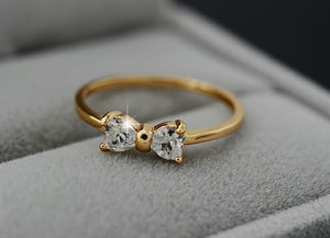 Bow Engagement Rings With CZ Crystals-Gold Color- Finger Bow Ring for Wedding Engagement-Women Jewelry