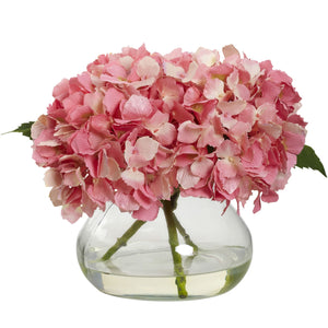 Flower Bouquet Gift Blooming Hydrangea w/Vase Cream/Blue/Pink/Green Home - FruitPaunch Gifts