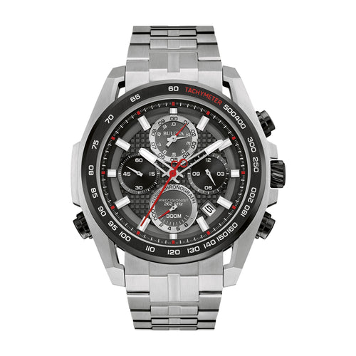 Bulova Men's Black Dial Precisionist Stainless Chronograph Bracelet Watch 98B270 - FruitPaunch Gifts