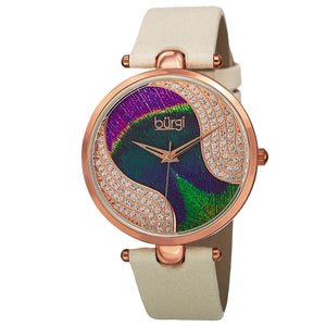 Burgi Women's Swarovski Crystal Leather Strap Quartz Swiss Watch Peacock Feather - FruitPaunch Gifts